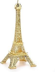 ESHATO 7 Inch Eiffel Tower Statue Decor Alloy Metal Collectible Figurine Replica Souvenir Room, French Eiffel Tower Party Decoration Table Stand Holder Gift for Cake Topper (Gold)