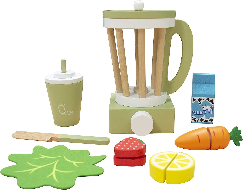 Teamson Kids - Little Chef Frankfurt Wooden Blender Play Kitchen Accessories - Green- 13 pcs