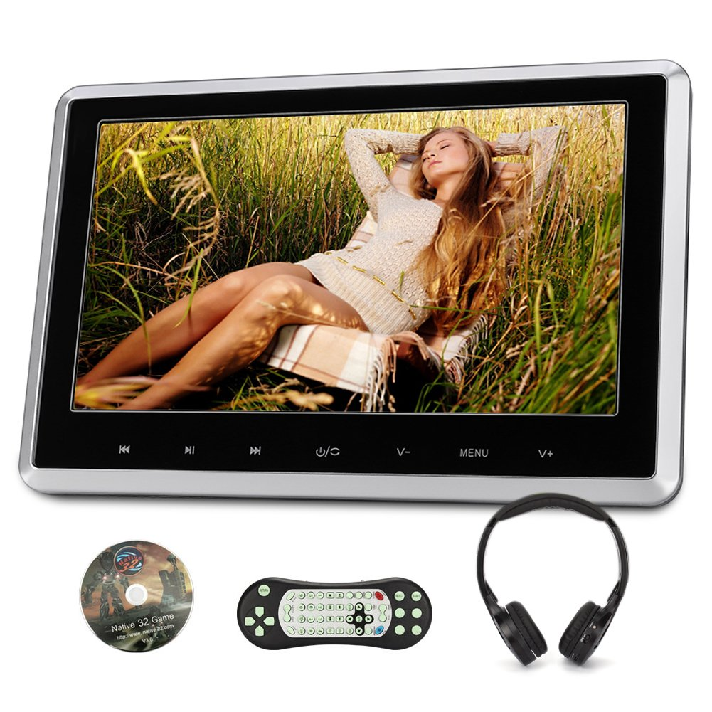 NAVISKAUTO 10.1 Inch Headrest DVD Player HD 1080P LCD Screen Headrest Monitor Backseat CD/USB Player with HDMI Port and Remote and Cigar Lighter Charger and Wall Charger and Headphone(CH1003B+Y0101S)
