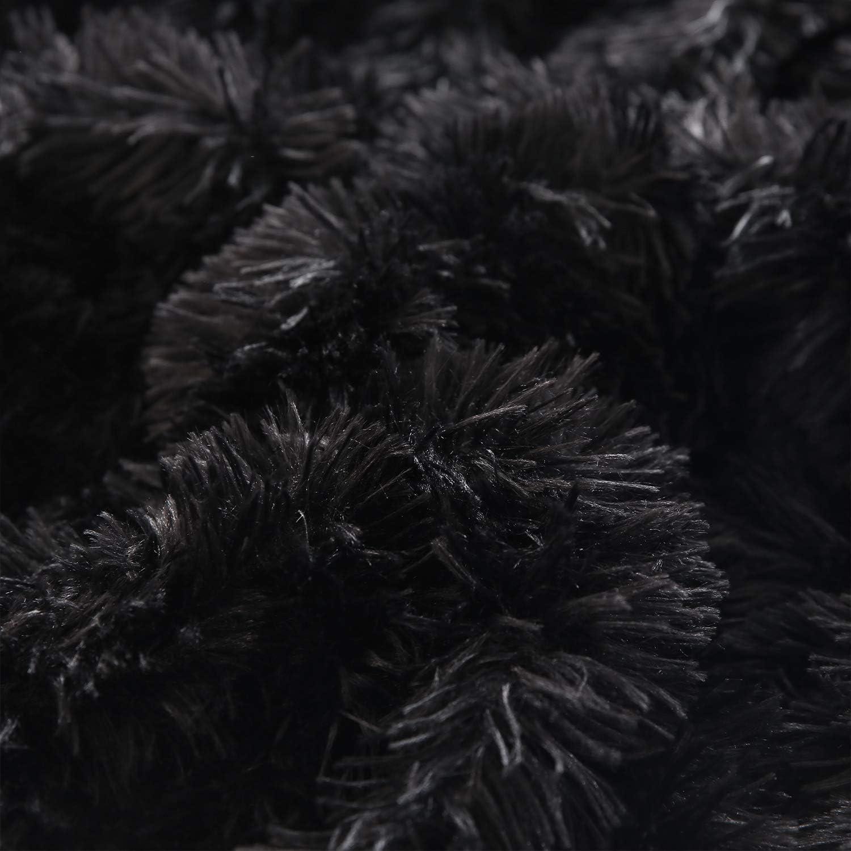XeGe Plush Shaggy Duvet Cover Luxury Ultra Soft Crystal Velvet Bedding 1PC(1 Faux Fur Duvet Cover),Zipper Closure (Queen, Black): Kitchen & Dining