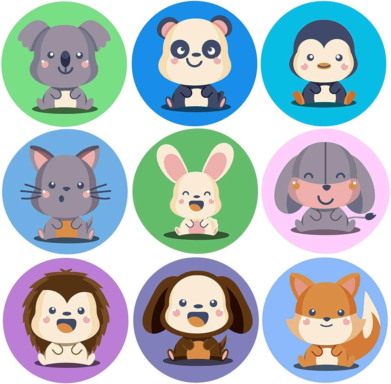GlossTrick Anime Animal Stickers for Kids and Toddler Reward Sticker for Preschool School Teachers and Doctor Animals Stickers for Celebrate Birthday Pack 200 in Roll Bulk