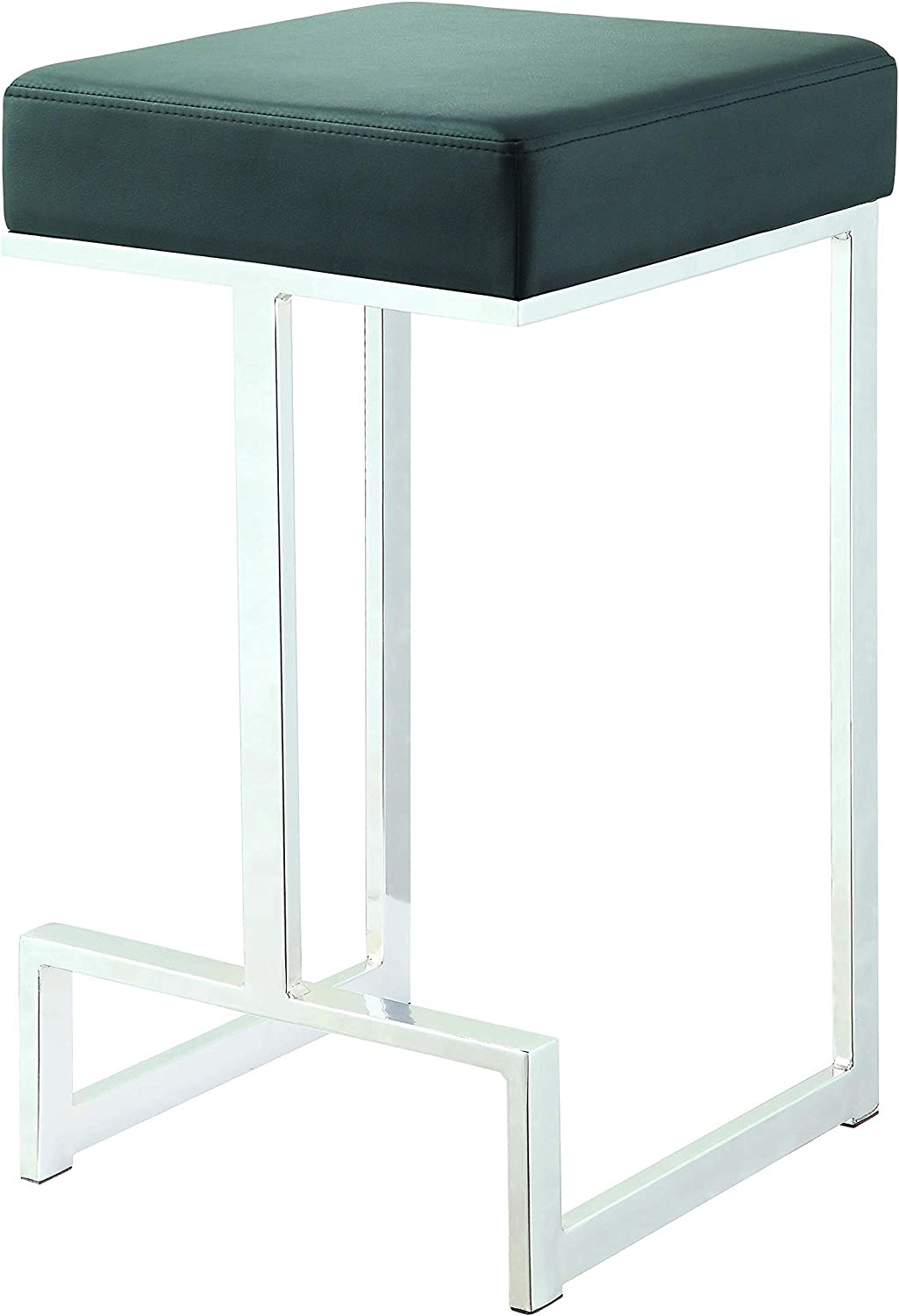 Square Counter Stool Black and Chrome