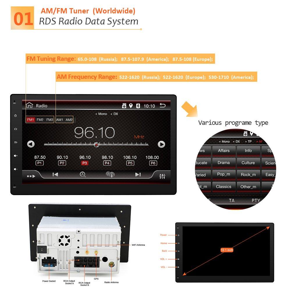 Universal Coche Estéreo con Bluetooth, eunavi 10.1 Inch ...