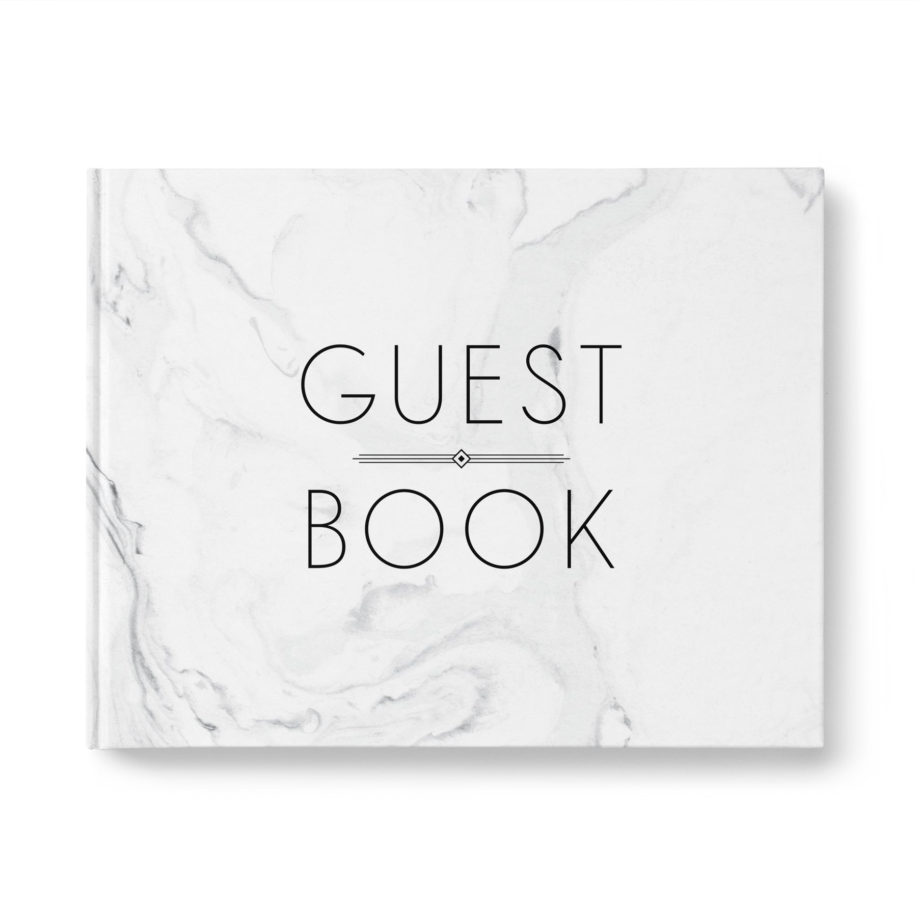 please + thanks Guest Book, Gray Marble Casebound Hardcover, 40 Acid-Free Blank White Interior Sheets (80 Total Pages), 10.9 x 8.75 Inches