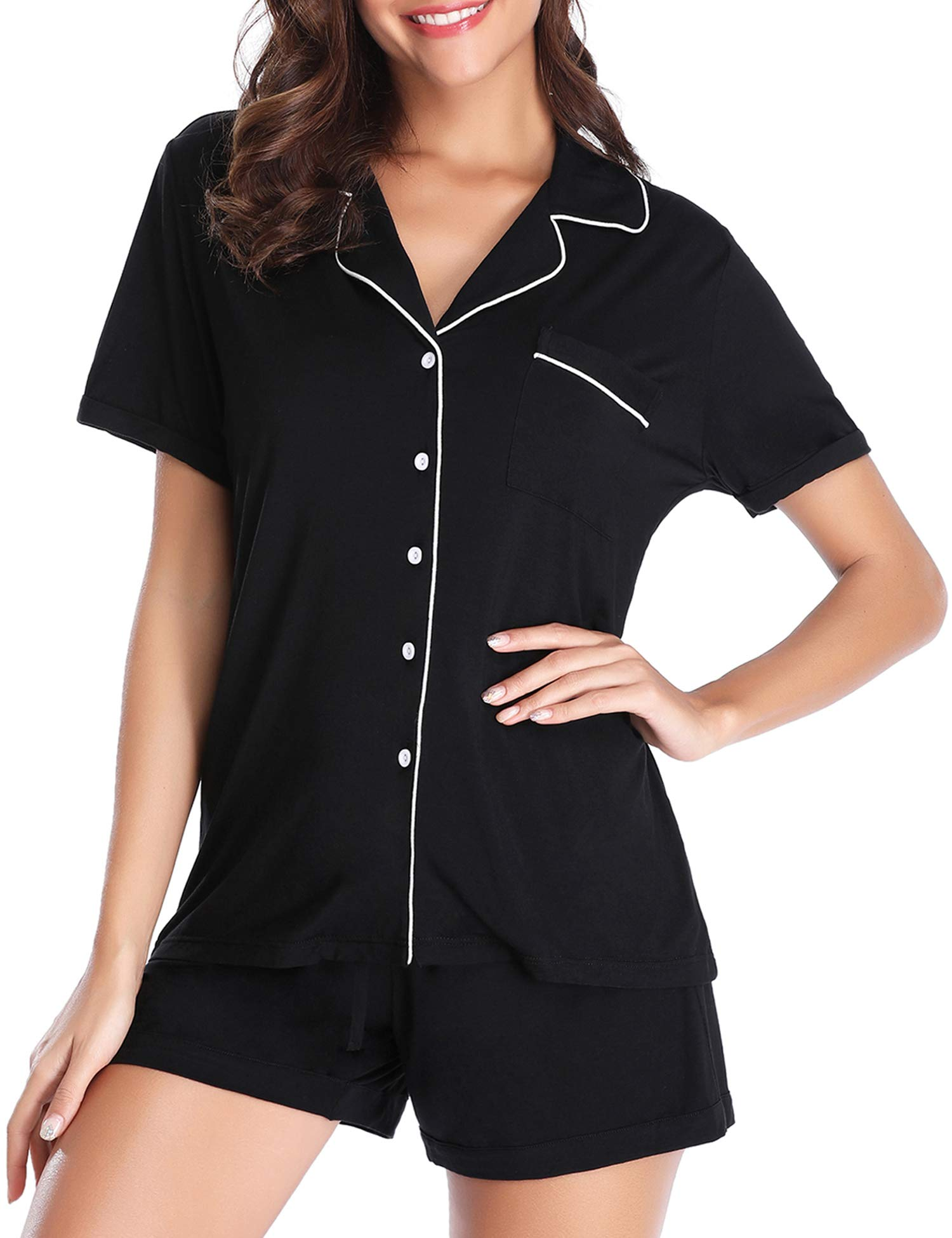 Lusofie Pajama Set for Women Short Sleeve Soft Knit Loungewear with PJ Shorts (Black,M)