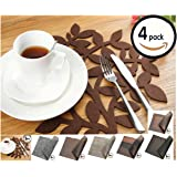 Dulce Cocina Placemats - Give Your Dinning Table A Personal Touch - 38 cm (15 Inch) Round Felt Place Mats In Chocolate - Liquid Absorbent & Heat Resistant