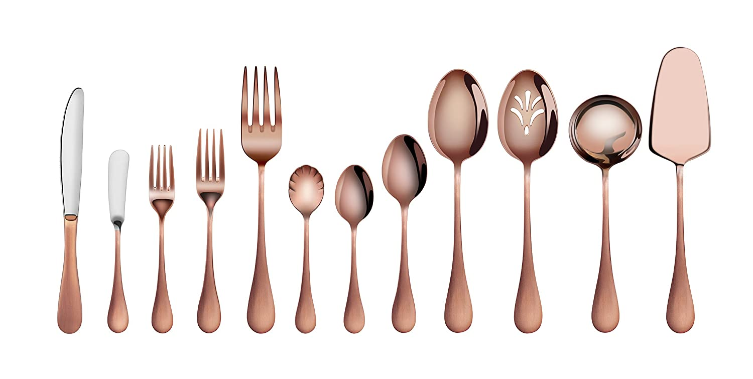 Christmas Tablescape Décor - Artaste Rain Antique Copper Finish Stainless Steel 47-Pc Flatware Set, Service for 8