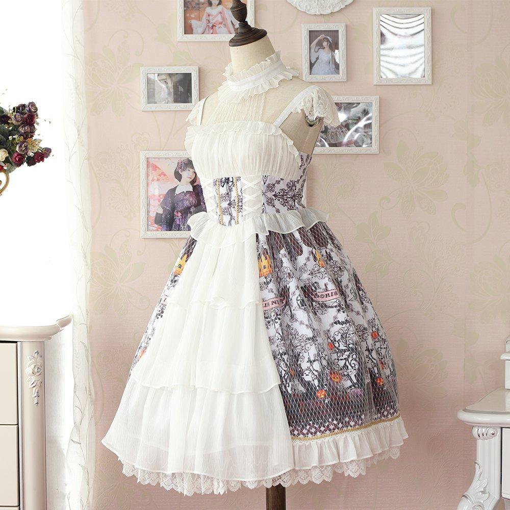 c7280c90b91 Women s Doris Night Sweet Lolita Dress Evil Pumpkin Printing Halter Strap  Lace Short Sleeve Multilayers (White