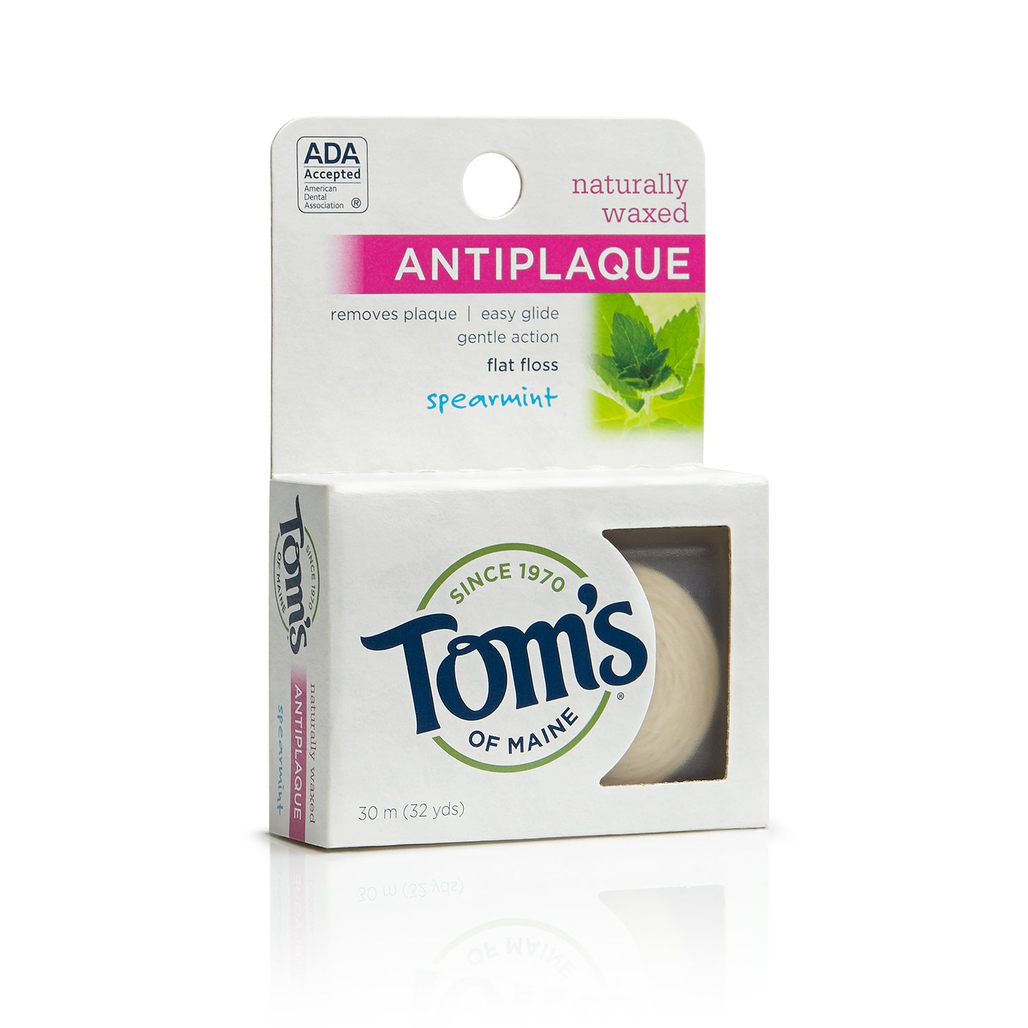 Tom's of Maine 683030 Natural Waxed Antiplaque Flat Floss, Spearmint, 32 yd, 24 Count