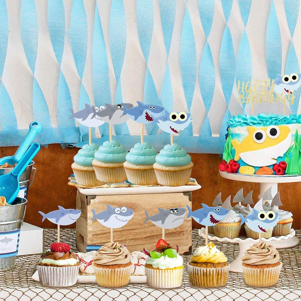 Pink Shark Cake Topper under the sea Ocean Shark Theme party decorations Favors Includes Shark Balloons Baby Shark Birthday Party Supplies Decorations for Boys And Girls Shark Birthday Banner