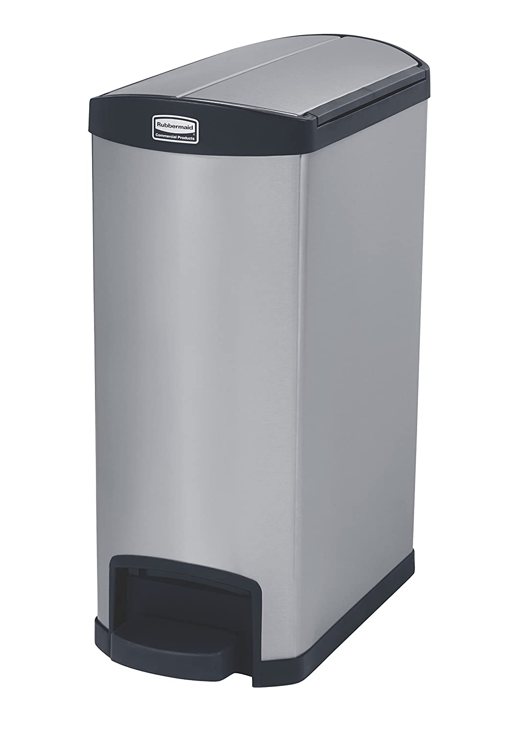 Rubbermaid Commercial 1901993 Slim Jim Stainless Steel Front Step-On Wastebasket, End-Step, 13-gallon, Black