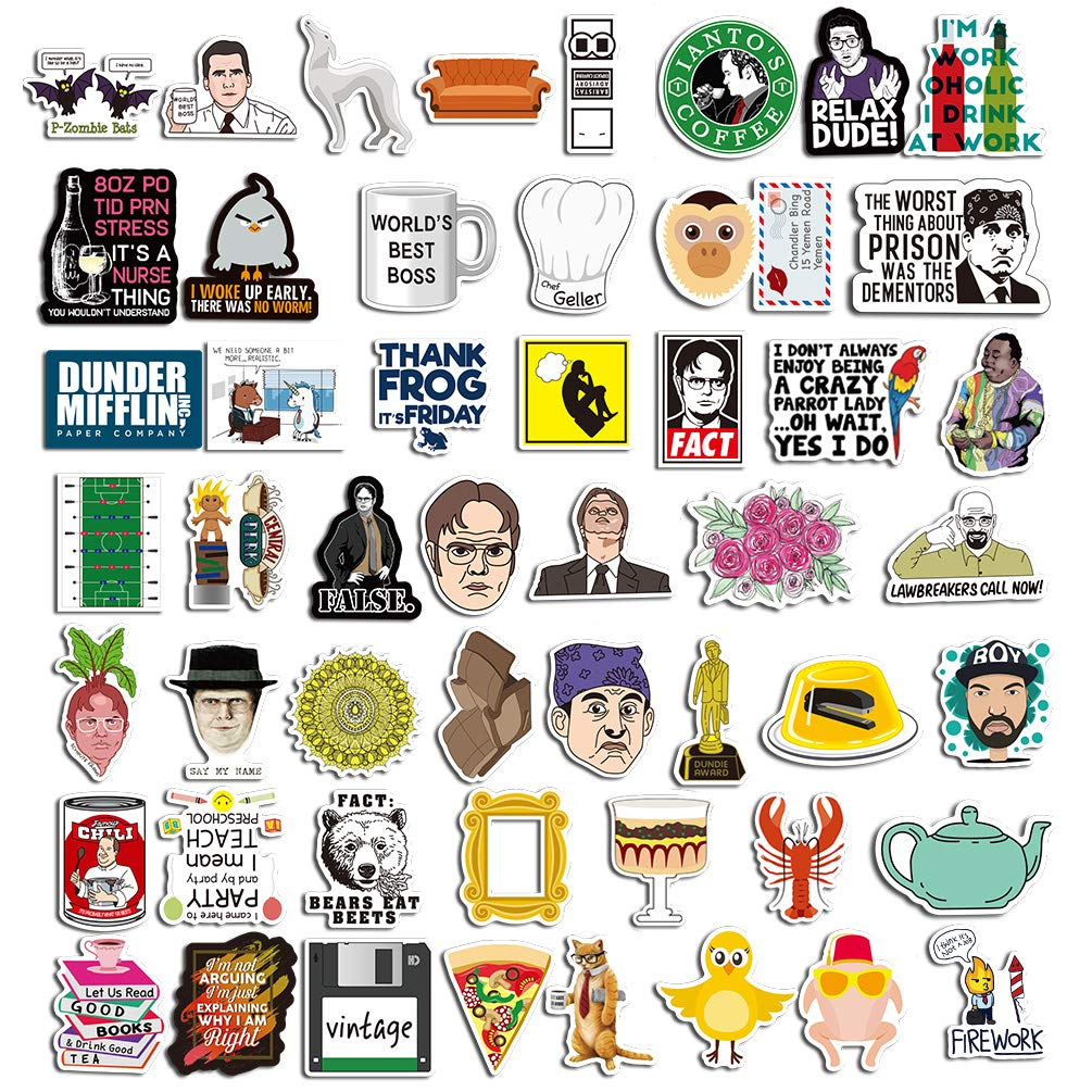 The Office Stickers Pack for Laptop Water Bottle Phone Notebook Computers Funny Dunder Mifflin Sticker Pack of 50
