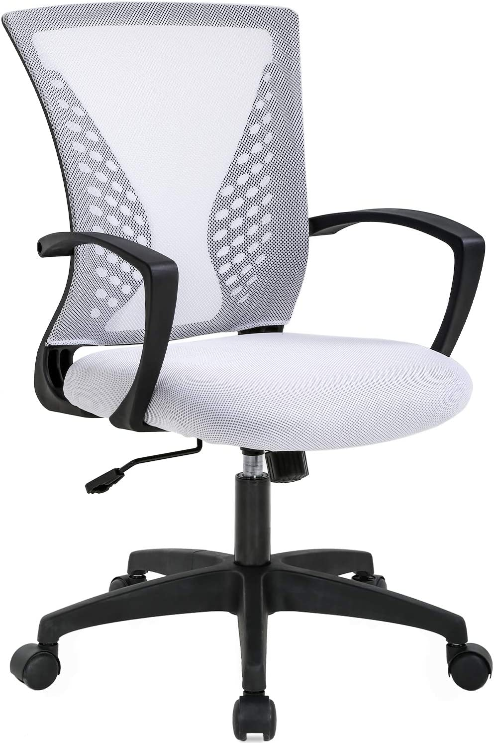 Mesh Office Chair Ergonomic Desk Chair Computer Chair with Lumbar Support Armrest Rolling Swivel Task Mid Back Adjustable Chair for Women Adults, White