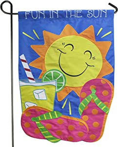 LAYOER Home Garden Flag 12.5 x 18 Inch Decorative Embroidered Applique Weatherproof Fun in the Sun (Sun)