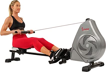 """Sunny Health /& Fitness Magnetic Rowing Machine Rower w//LCD Monitor 44/"""" Rail"""