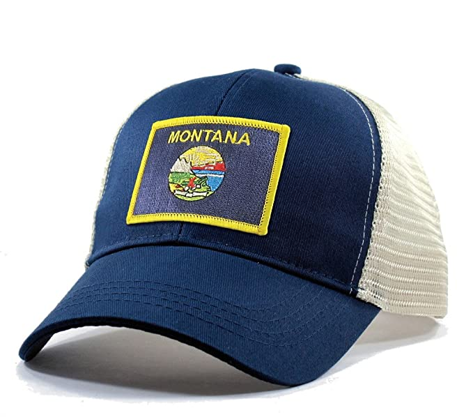 Homeland Tees Men's Montana Flag Patch Trucker Hat - Blue at