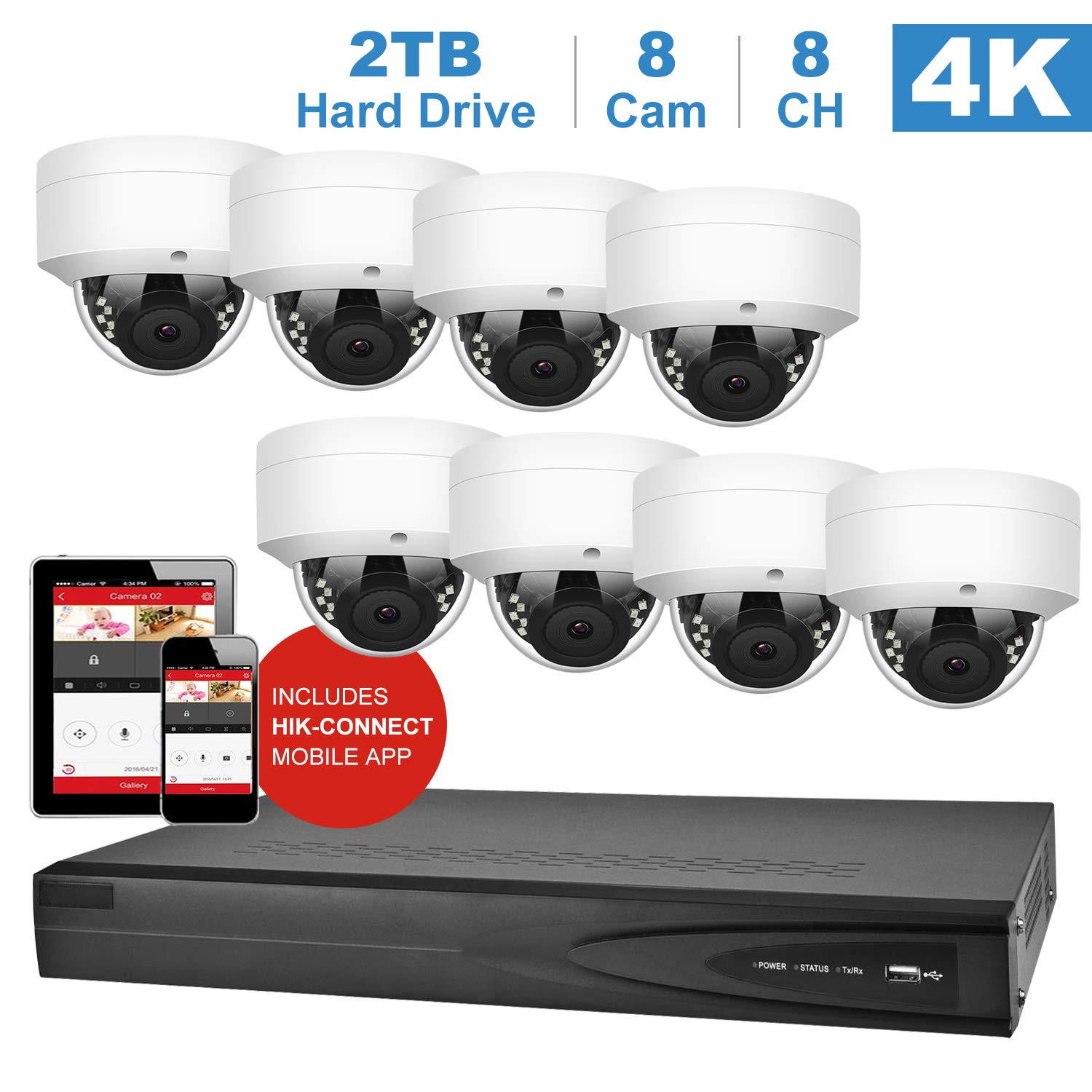 【Audio】Anpviz 8CH 4K NVR 5MP IP PoE Home Security Camera Systems H.265+ Onvif NVR ( Compatible with Hikvision DS-7608NI-K1/8P) with 2TB HDD 8pcs 5MP POE IP Dome Cameras Indoor Outdoor Wide Angle 2.8mm