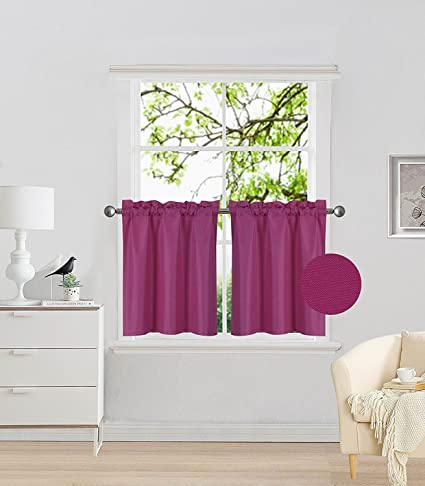 Fancy Collection 2 Panel Hot Pink Bedroom Curtains Blackout Draperies  Thermal Insulated Solid Rod Pocket Top