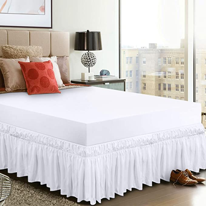 Utopia Bedding Elastic Bed Valance Skirt with Ruffles - Soft Brushed Microfibre Ruffle Drop: 40 cm - (Single 99 x 190 cm, White)