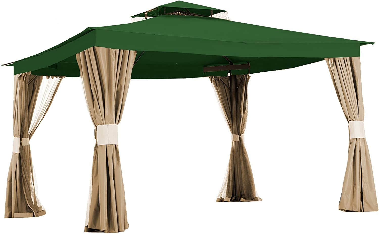Garden Winds Replacement Canopy Top Cover for Living Home 10 x 12 Gazebo – Riplock 350 – Green