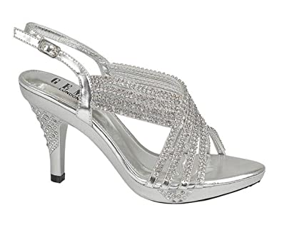 2dc614ecab2a Chic Feet Womens Party Diamante Evening Wedding Bridal Prom Mid Heel  Sandals - Silver - Size