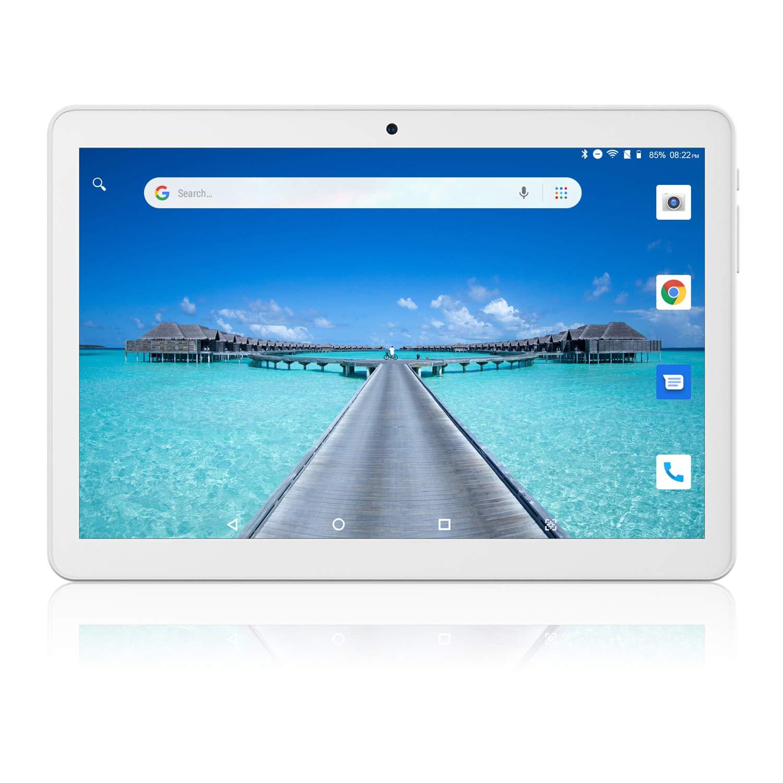 Tablet 10 Pulgadas, Android Desbloqueado Teléfono 3G, Tabletas PC Ranuras para Tarjetas SIM Dobles 1GB+16GB Quad-Core IPS 1280x800, WiFi Bluetooth GPS Doble Cámara, Plata