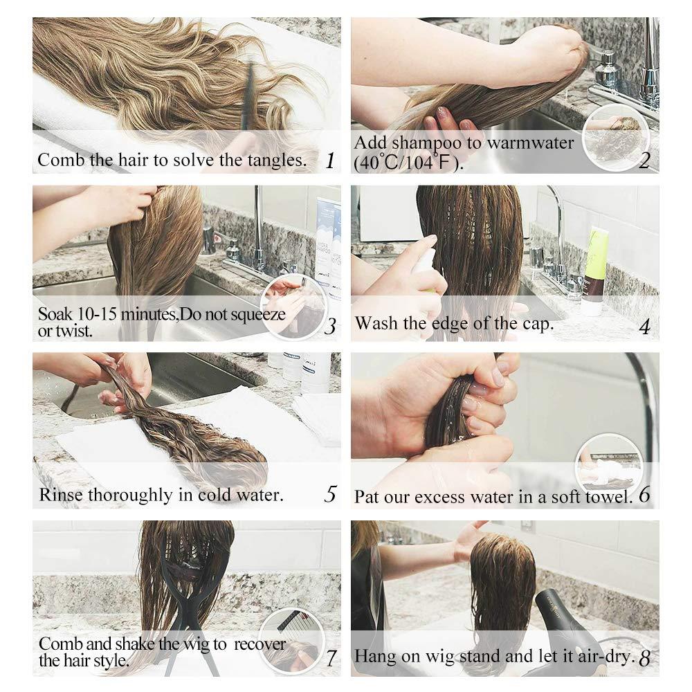 Amazon.com: Emmor Peluca de pelo humano para mujer, mezcla ...