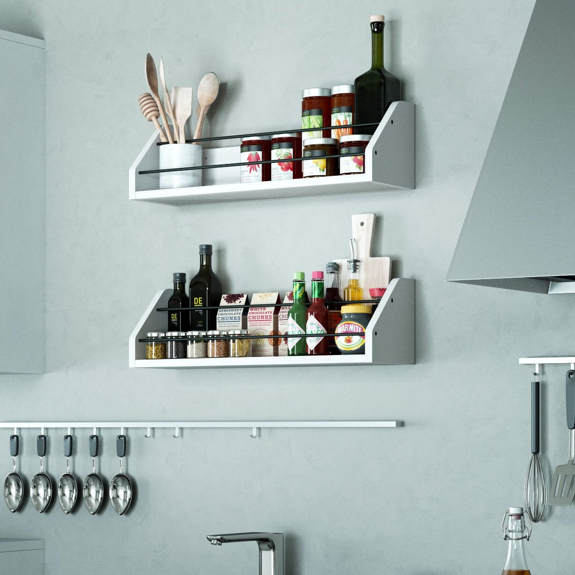 Amazon.com: Kitchen White Wall Shelf with Black Metal Section ...