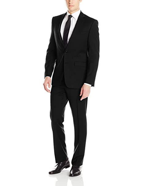 Calvin Klein Mens X Fit Stretch Slim Suit, Black, 38 Long