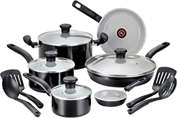 T-fal Black Ceramic 14-Piece Ceramic Cookware Set