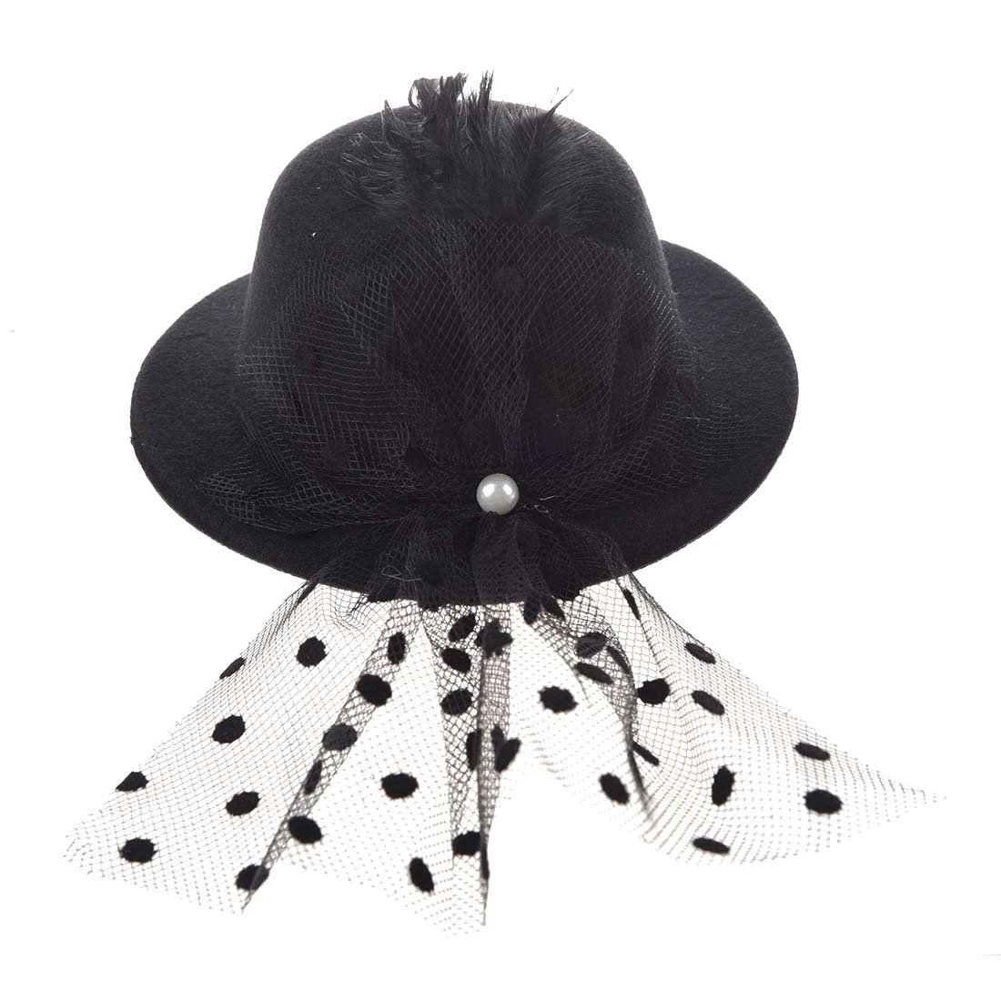 Black Feather Lace Hair Clip Mini Top Hat Party Cosplay 012321