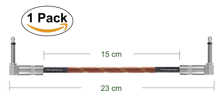 #1 Lo Mejor Cable de Conexión para Guitarra y Bajo - Silencioso Cable Pedalera Patch Cable para Pedales de Efectos - Derecha Masculino de Ángulo - Mono TS Instrumento Patch Alambre - Estándar 1/4 Jack a Jack - Deluxe Trenzado Tweed (Pack de 3, Blanco y Ne