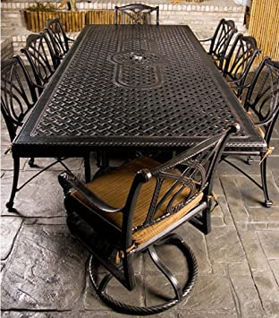 Lovely Gensun Grand Terrace Patio Dining Set W/ 112u0026quot; Rectangle Table ...