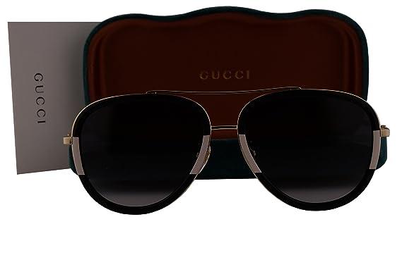9f41e23e14 Gucci GG0062S Sunglasses Endura Gold Shiny Black Ivory w Gray Gradient Lens  006 GG 0062S  Amazon.co.uk  Clothing