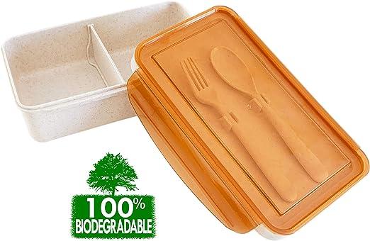 Fiambrera 100% biodegradable con cubiertos reutilizables, estilo ...