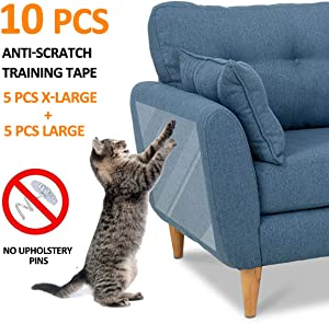 "FOCUSPET Furniture Protectors from Cats 10pcs Cat Scratch Deterrent Sheet | Double-Sided Training Tape an-ti Pet Scratch for Leather Couch Furniture Protector 5XL-17""x12"" + 5L-17""x10"""