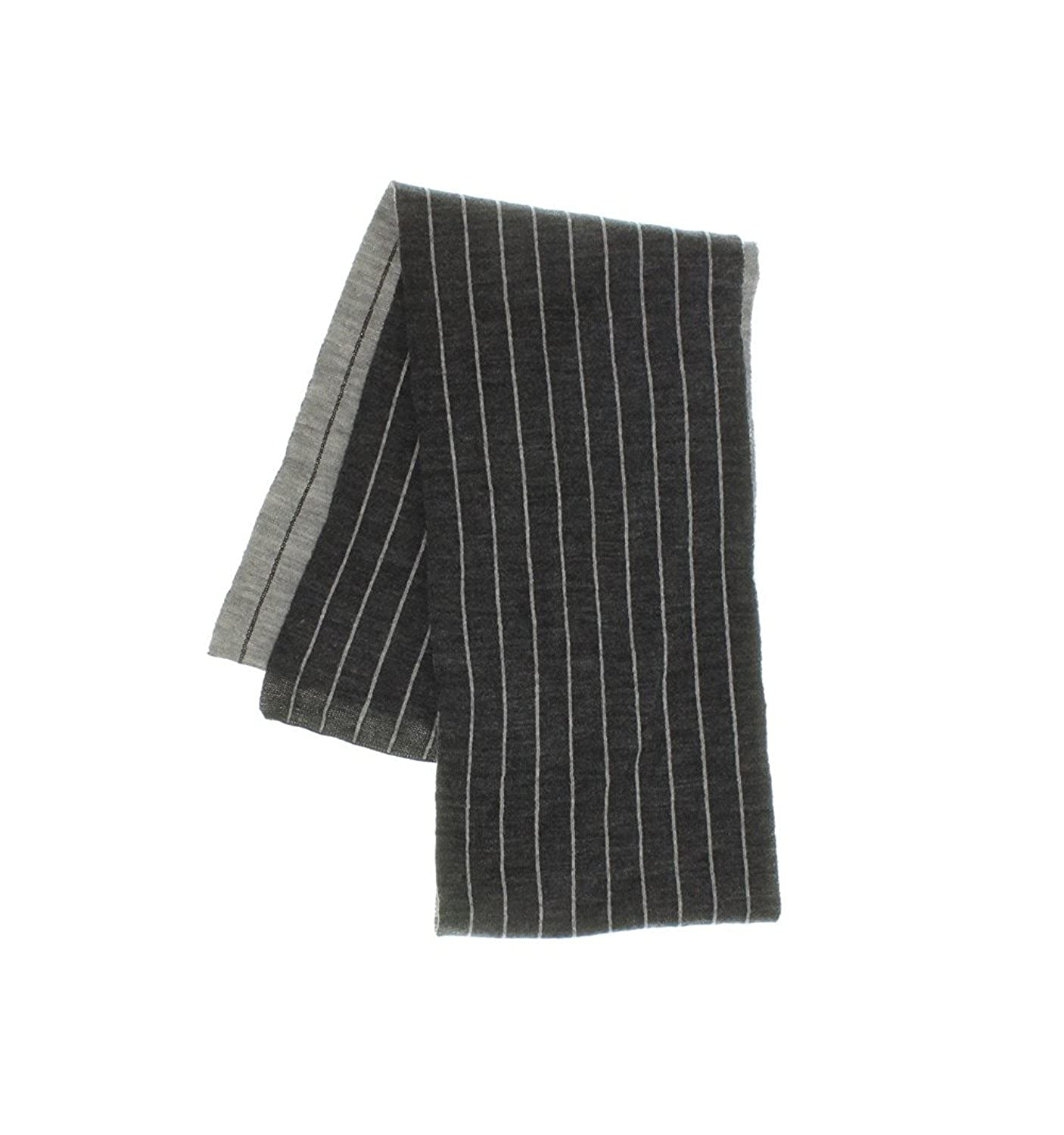 Chaps Unisex Reversible Pinstriped Knit Scarf One Size, Gray
