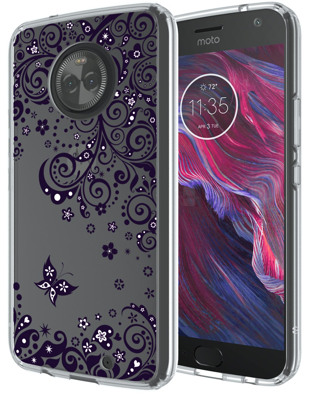 Moto X4 Case, SWODERS Flower Clear Design Shock Absorbing TPU + Hard PC Bumper Case Cover For Motorola Moto X4 - Purple