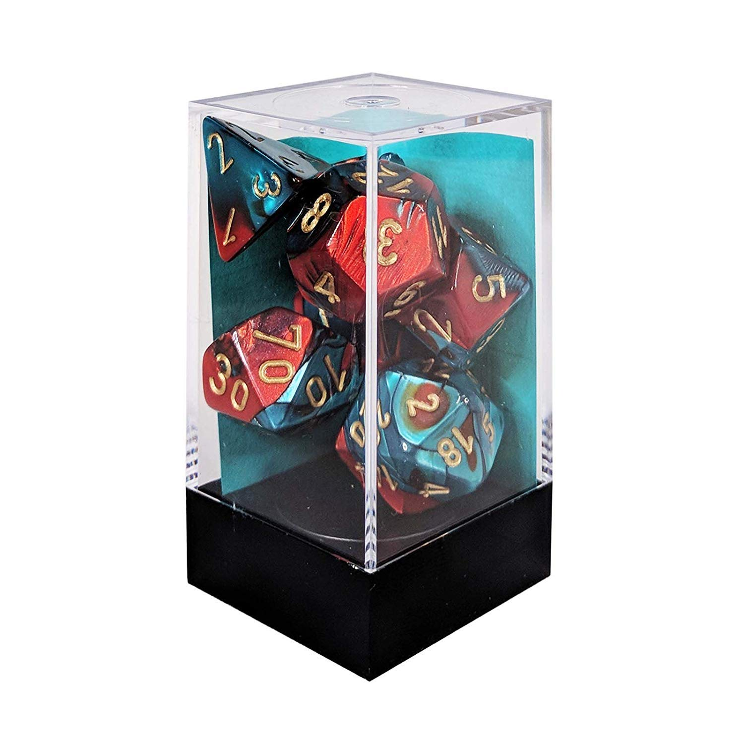 Chessex CHX26462 Dice-Gemini Red-Teal/Gold Set by Chessex