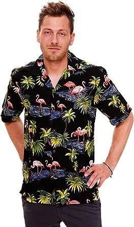 Pacific Legend   Original Camisa Hawaiana   Caballeros   S - 4XL   Manga Corta   Bolsillo Delantero   Estampado Hawaiano   Flamenco   Negro