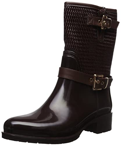 Alexis Leroy Women s Mid-Calf Top Soft Buckle Waterproof Solid Rain Snow  Boots Brown 36 39f38ca3a67b