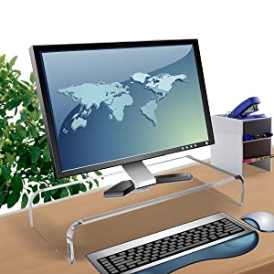 Clear Acrylic Computer Monitor Stand Holder, Acrylic Monitor Riser for Office Home Desktop, Desktop Computer Monitor Stands for Laptop Screen TV Monitor, Keyboard Storage, Desk Riser Shelf Sturdy