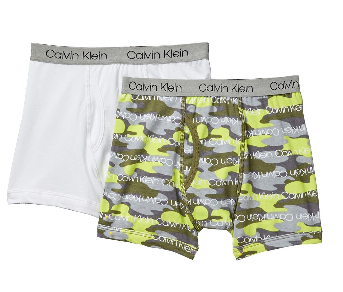 c79989e8c05f78 Galleon - Calvin Klein Boy`s 2 Pack Boxer Briefs (Large/12-14, Classic  White(U5133)/Camo Green)