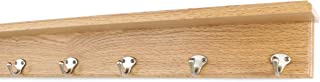 "product image for PegandRail Oak Shelf Coat Rack with Satin Nickel Single Style Hooks (Natural, 26"" with 5 Hooks)"