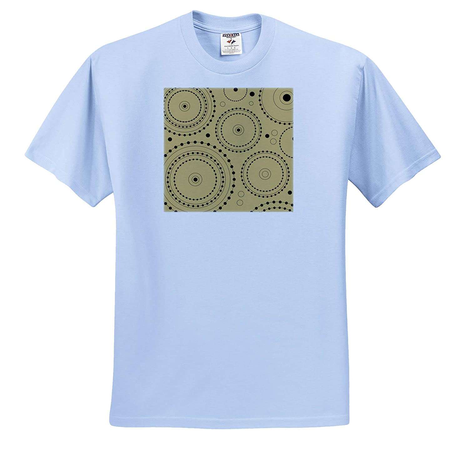 Circles on Rings in Black on Faux Gold Color - T-Shirts Geometric Designs 3dRose Natalie Paskell
