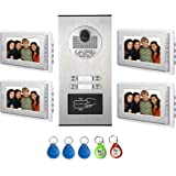 "AMOCAM Video Intercom Entry System, Wired 7"" LCD Monitor Video Door Phone Kits for 4 Units Apartment, Support Monitoring, Unlock, Dual way Door Intercom, RFID Keyfob Unlock,New"