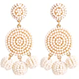 ELEARD Beaded Earrings Elegant Soriee Dangle Bead Disc Bead 3 Ball Dangle Ear Drop Bead Tassel Earrings for Women Girl