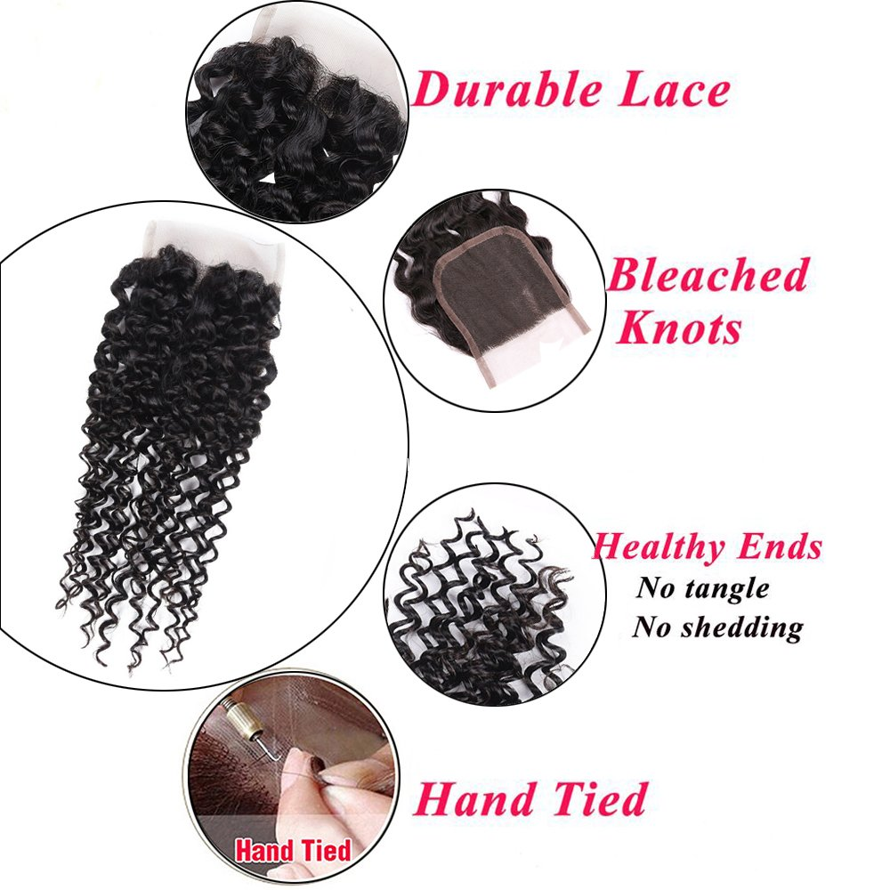 Amella Hair 10A Brazilian Virgin Curly Hair Weave 3 Bundles with Lace Closure Free Part 4x4 100% Unprocessed Brazilian Kinky Curly Hair Weave Bundles Natural Color(16 18 20+14inch) by Amella (Image #6)