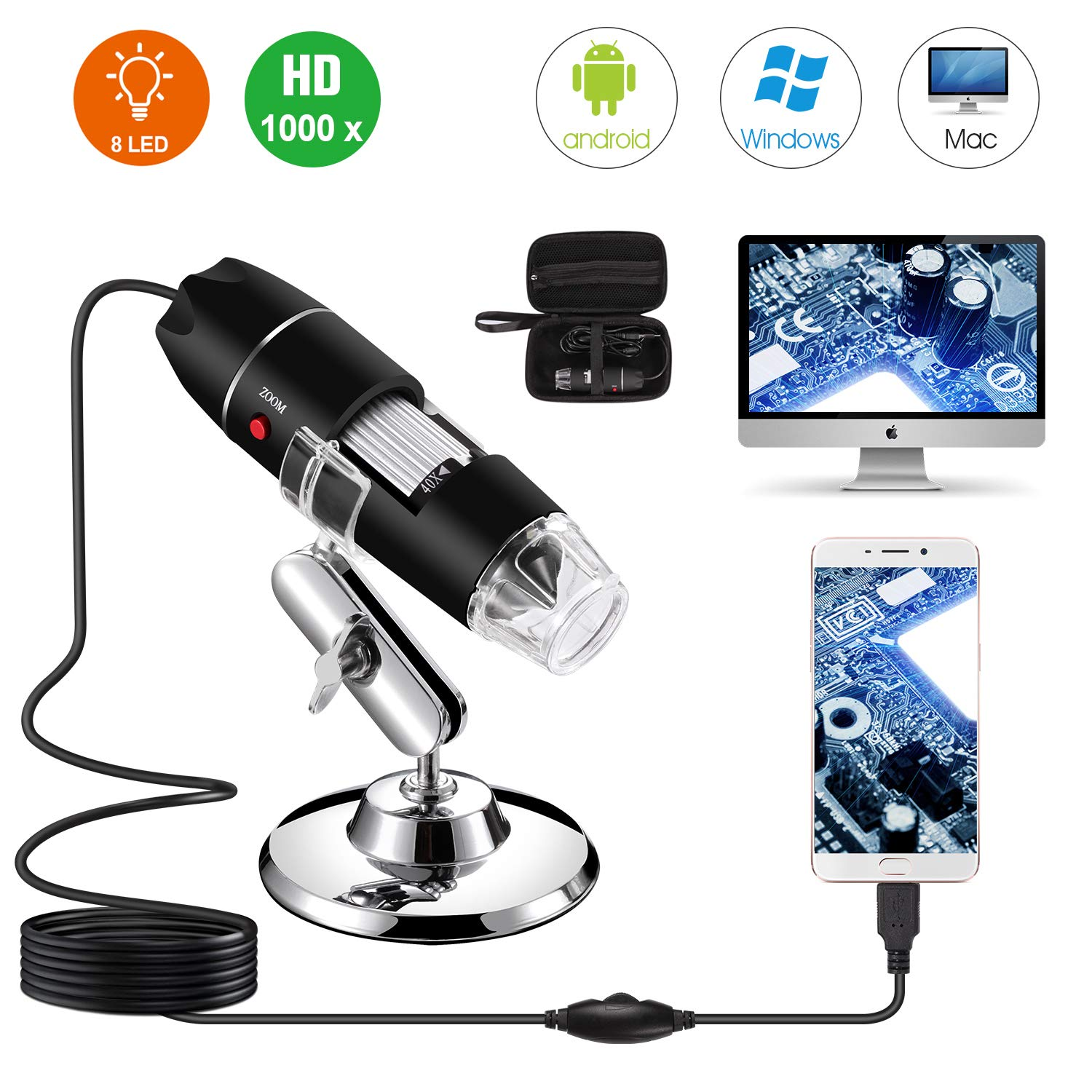 USB Digital Microscope 40X to 1000X, Bysameyee 8 LED Magnification Endoscope Camera with Carrying Case & Metal Stand, Compatible for Android Windows 7 8 10 Linux Mac by Bysameyee