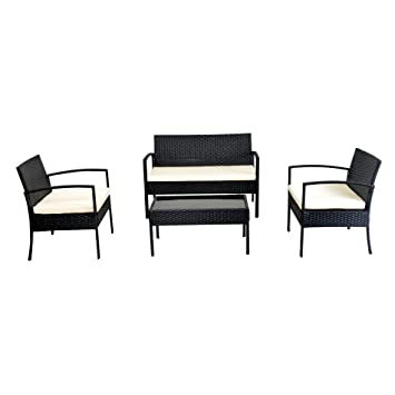 Astounding Ebs 4 Piece Outdoor Patio Garden Rattan Wicker Loveseat Sofa Ocoug Best Dining Table And Chair Ideas Images Ocougorg